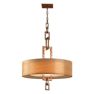 Bronze Leaf Link Four-Light Fluorescent Hanging Pendant