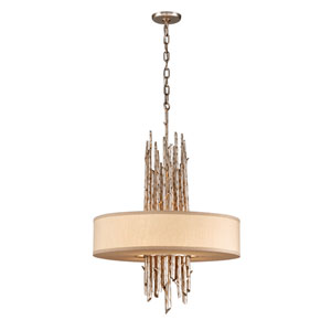 Silver Leaf Adirondack Four-Light Fluorescent Drum Pendant