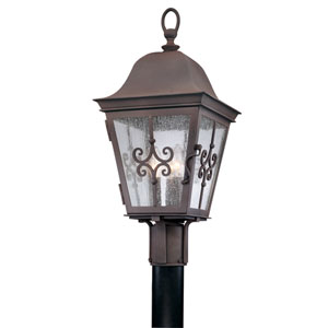 Markham Weathered Bronze Three-Light Outdoor Post Mount