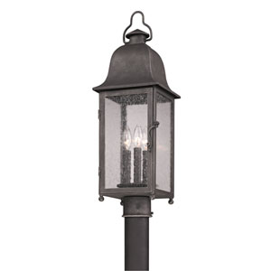 Aged Pewter Larchmont Three-Light Post Mount