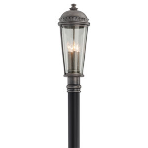 Ambassador Aged Pewter Four-Light Medium Post Lantern with Clear Seeded Glass