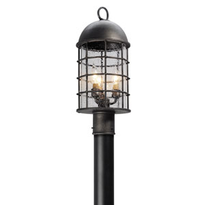 Charlemagne Aged Pewter Three-Light Outdoor Post Mount