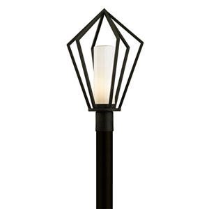 Whitley Heights Textured Black One-Light Outdoor Light Post with Opal White Glass