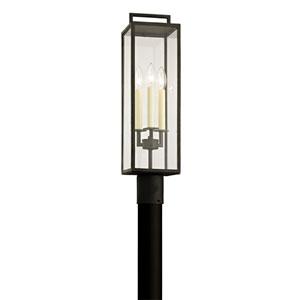 Beckham Forged Iron Three-Light Outdoor Light Post with Dark Bronze