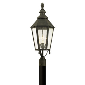 Savannah Vintage Iron Three-Light Outdoor Light Post with Clear Seeded Glass
