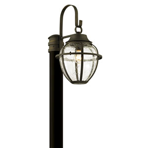 Bunker Hill Vintage Bronze One-Light Outdoor Light Post with Clear Seeded Glass
