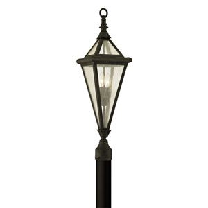 Geneva Vintage Bronze Two-Light Outdoor Light Post with Clear Seeded Glass