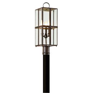 Rutherford Natural Rust Three-Light Outdoor Light Post with Dark Bronze