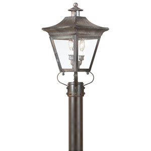 Oxford Natural Rust Two-Light Outdoor Post Mount with Clear Glass