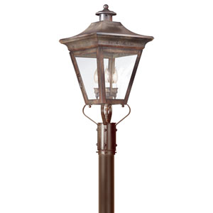 Oxford Natural Rust Three-Light Outdoor Post Lantern