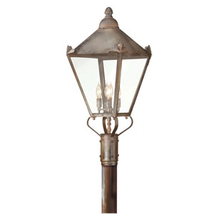 Preston Natural Rust Four-Light Outdoor Post Mount with Clear Glass