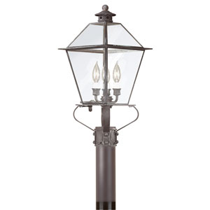 Montgomery Charred Iron Three-Light Outdoor Post Lantern