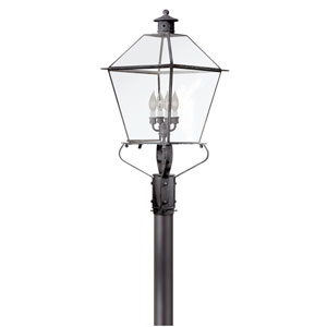 Montgomery Charred Iron Four-Light Outdoor Post Lantern