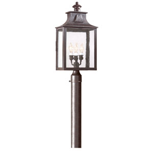 Newton Old Bronze  Three-Light Large Post Lantern with Clear Glass