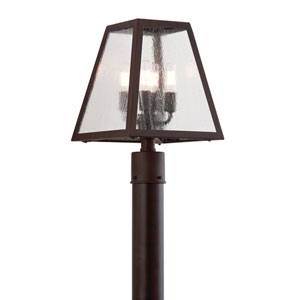 River Valley Rust Four-Light Post Mount with Clear Seeded Glass