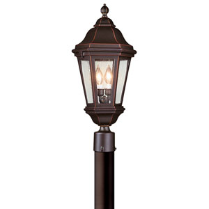Verona Bronze Patina Two-Light Post Mount Lantern with Clear Seeded Glass