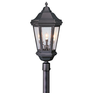 Verona Antique Bronze Three-Light Post Mount Lantern with Clear Seeded Glass