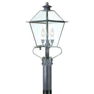 Montgomery Charred Iron Three-Light Large Post Lantern Glass Top with Clear Seeded Glass