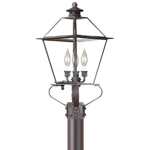 Montgomery Charred Iron Three-Light Post Mount Metal Top Lantern with Clear Seeded Glass
