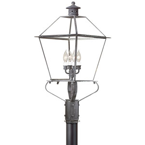 Charred Iron Four-Light Post Mount Metal Top Lantern with Clear Seeded Glass