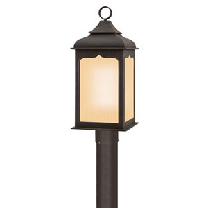 Henry Street Colonial Iron One-Light Fluorescent Outdoor Post Mount with Amber Mist Glass
