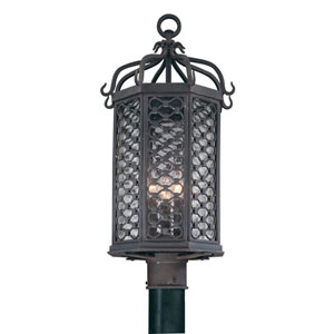 Los Olivos Old Iron One-Light Fluorescent Outdoor Post Mount with Amber Mist Glass