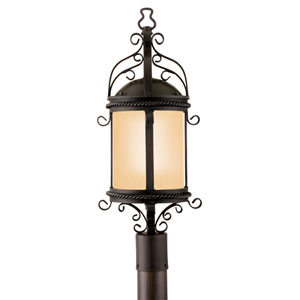 Pamplona Old Bronze One-Light Fluorescent Outdoor Post Mount with Amber Mist Glass