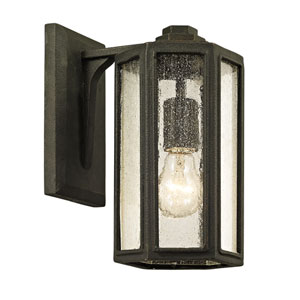 Hancock Vintage Bronze One-Light Outdoor Wall Sconce with Clear Seeded Glass