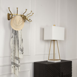Starling Antique Brass 25-Inch Wall Mounted Coat Rack