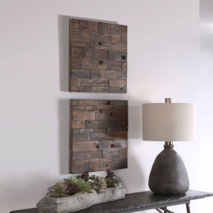 Astern Solid Wood Wooden Wall Panel, Set of 2
