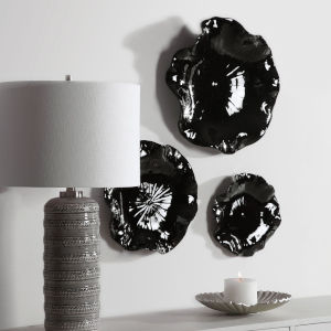 Abella Glossy Black Floral Wall Art, Set of 3