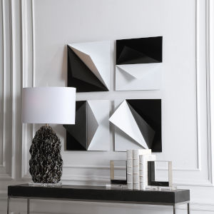 Origami Black and White 16-Inch Metal Wall Decor, Set of 4