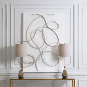 Freehand Gold and White 44-Inch Metal Wall Panel