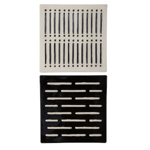 Domino Effect Black and Gray 16-Inch Wall Decor, Set of 2