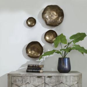 Lucky Coins Brass Wall Bowl, Set of 4