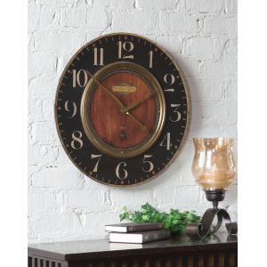 Alexandre Black and Woodtone 23-Inch Wall Clock
