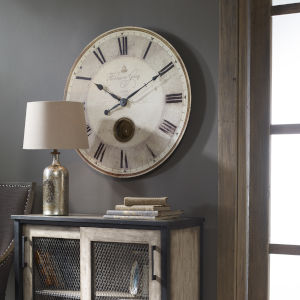 Harrison Gray Bronze and White 30-Inch Wall Clock