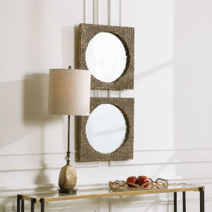 The Hive Aged Gold 18-Inch Square Mirrors, Set of 2