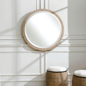 Carbet Matte White 40-Inch Round Rope Mirror