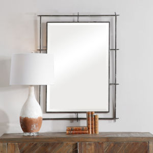 Ironworks Silver 39-Inch Industrial Mirror