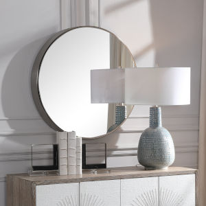 Coulson Brushed Nickel Round Mirror