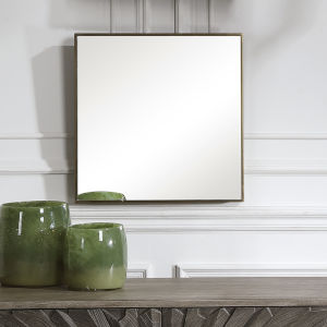 Balmoral Antique Brushed Brass Square Mirror