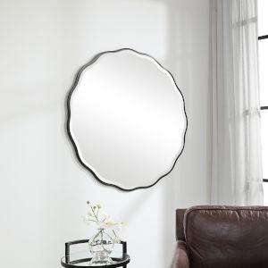 Aneta Satin Black Round Scalloped Mirror