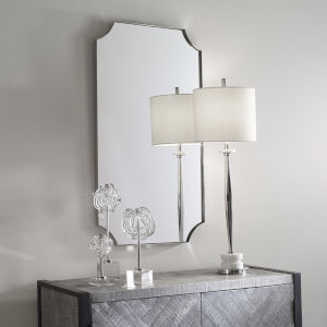 Lennox Polished Nickel Scalloped Corner Mirror