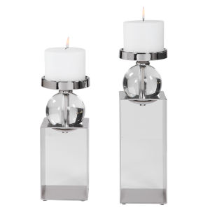 Lucian Polished Nickel Candle Holder, Set of 2