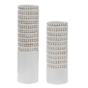 Angelou White and Taupe Vases, Set of 2