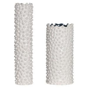 Ciji White Vases, Set of 2