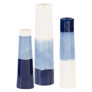 Sconset Whitel and Ight Blue Vases, Set of 3