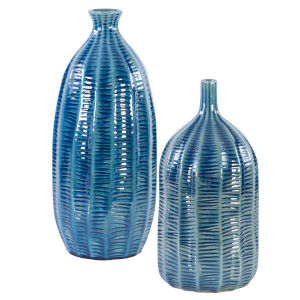 Bixby Blue Vases, Set of 2