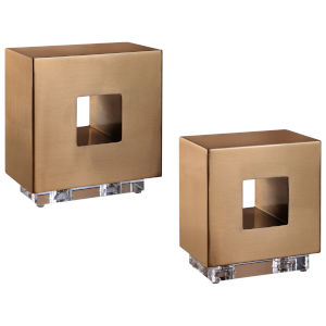 Rooney Antique Brushed Brass Cubes, Set of 2